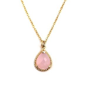 Pink Chalcedony Teardrop Pear Gold Tone Necklace